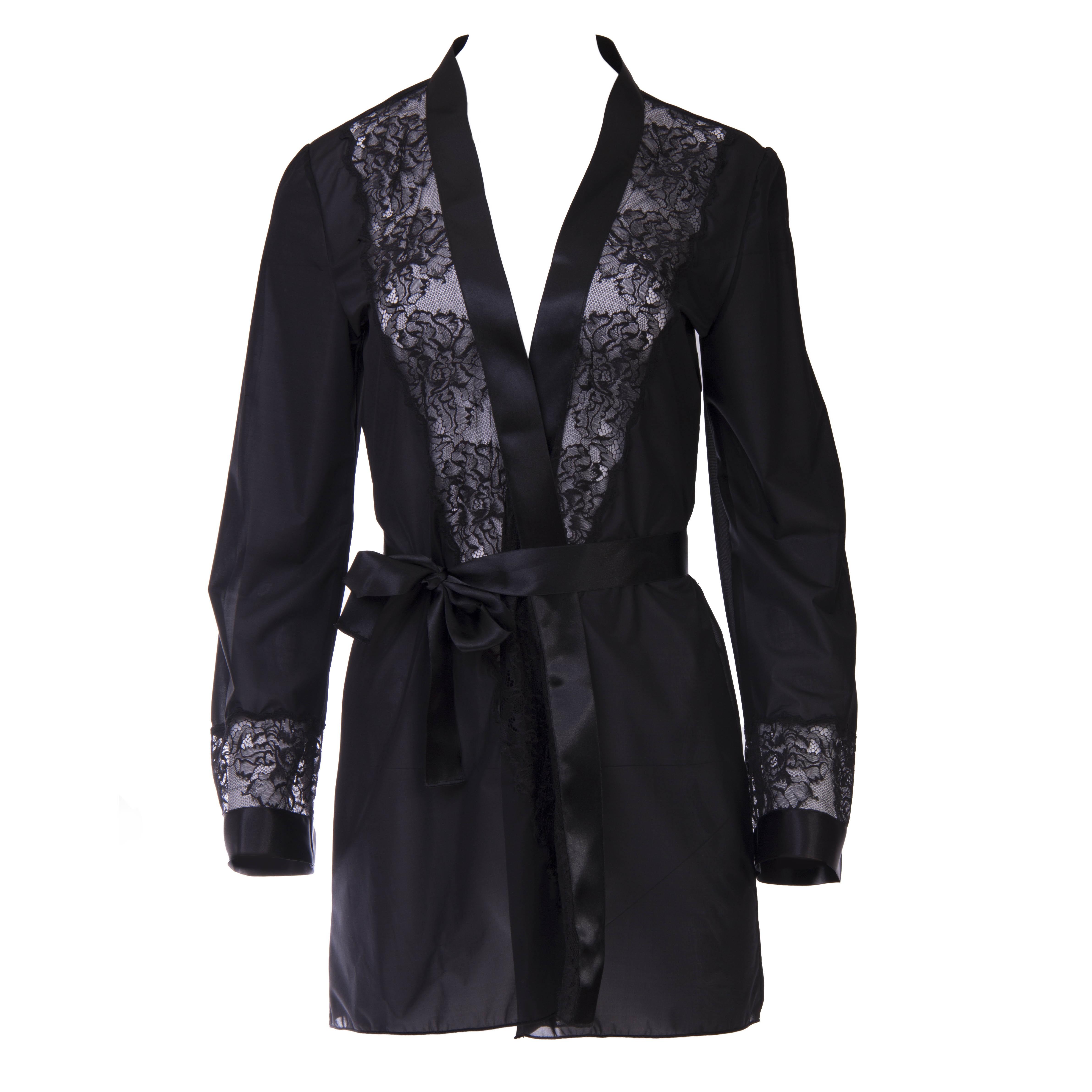 online retailer 43616 28e23 Edler Dessous Luxus Mantel in Schwarz | Escora Shop