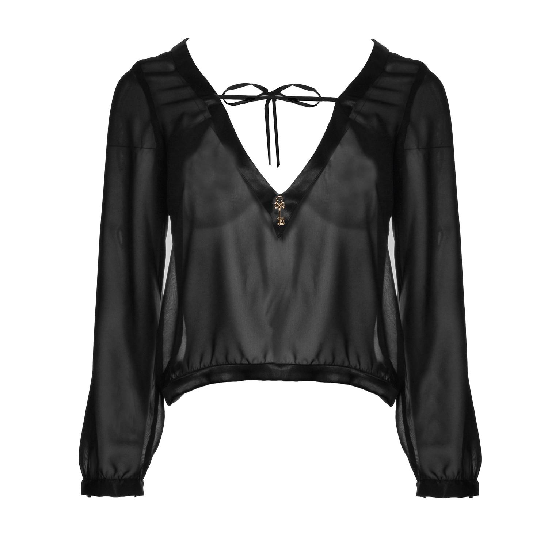 Elegante Langarm Bluse in Schwarz vorne