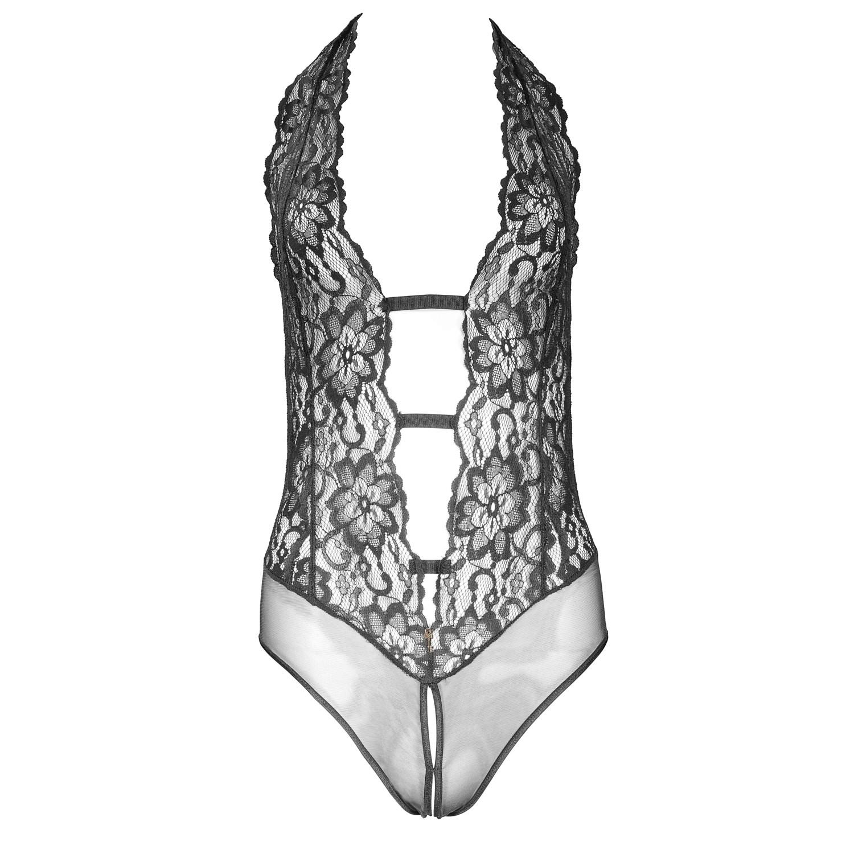 Luxuriöser Escora Body Slip Ouvert in Schwarz