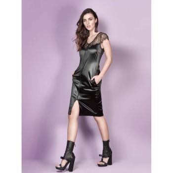 Elegantes Hauskleid mit schwarzem Reißverschluss